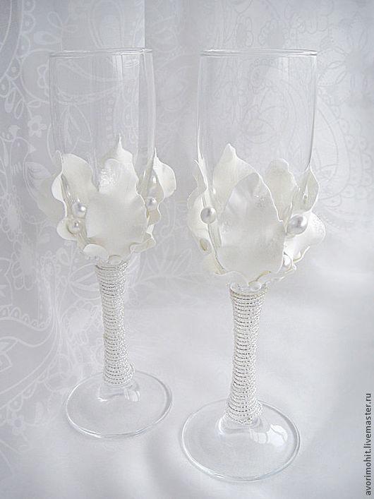 Свадебные аксессуары ручной работы. Ярмарка Мастеров - ручная работа. Купить бокалы_белый цветок 2. Handmade. Белый, бокалы