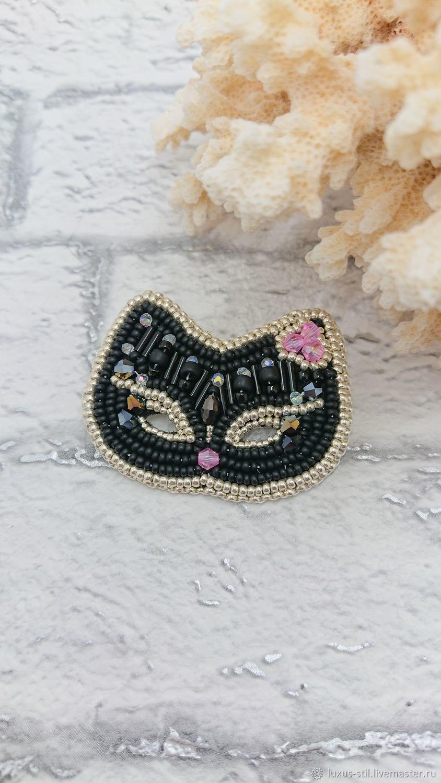 Brooch-pin: Black cat mask, Brooches, Podolsk,  Фото №1