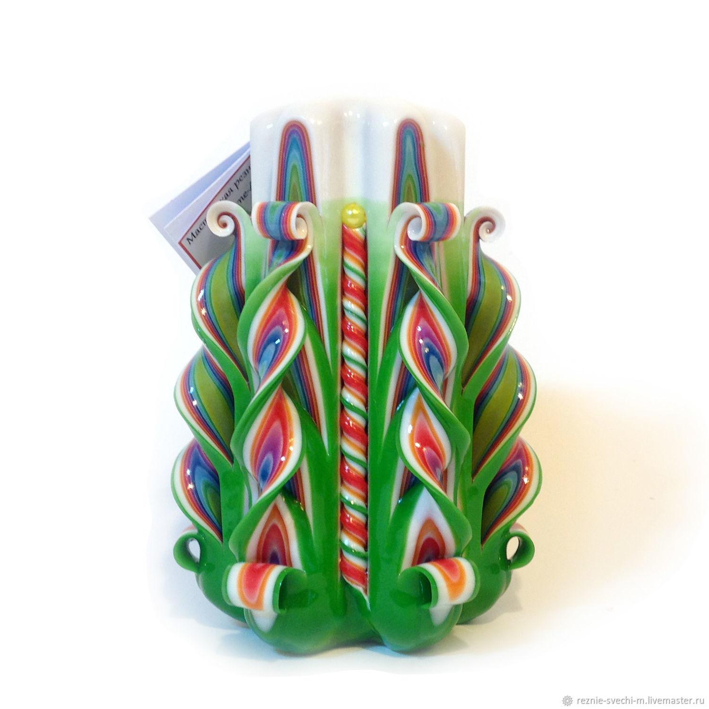 Резная свеча зеленая и все цвета радуги (арт.203), Свечи, Москва,  Фото №1