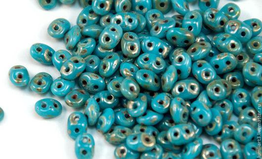 Для украшений ручной работы. Ярмарка Мастеров - ручная работа. Купить SuperDuo 5x2.5 Blue Turquoise Picasso Silver TP63030 (1585) Супердуо. Handmade.