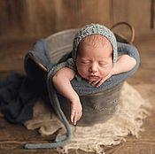 Аксессуары для фотосессии ручной работы. Ярмарка Мастеров - ручная работа Шапочка для фотосессии новорожденных Цвет морской волны. Handmade.