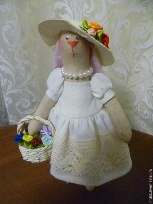 """Игрушки животные, ручной работы. Ярмарка Мастеров - ручная работа. Купить зая тильда в шляпке """"дама"""". Handmade. Кукла интерьерная"""