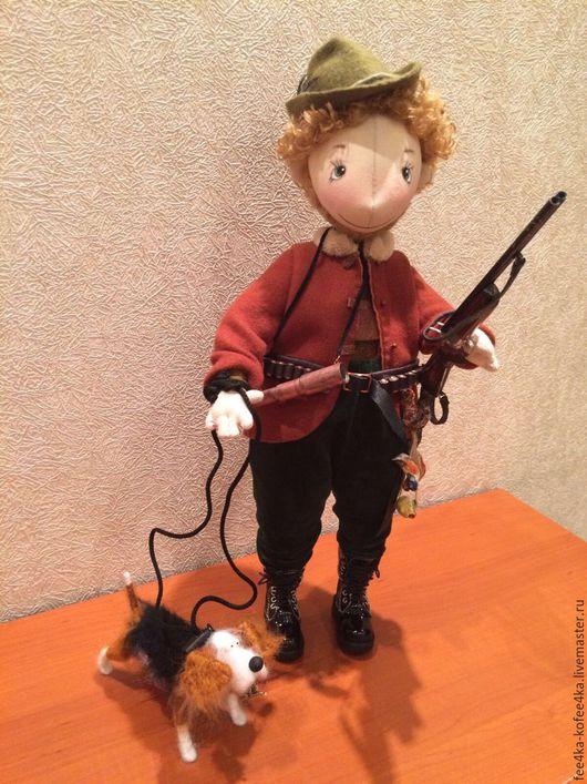 Коллекционные куклы ручной работы. Ярмарка Мастеров - ручная работа. Купить Охотник, ружьё, труба, собачка, патронташ, шляпа, ремень, подарок. Handmade.