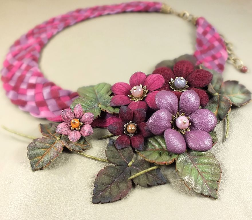 Floral Burgundy Etude. Necklace and brooch made of genuine leather, Jewelry Sets, St. Petersburg,  Фото №1