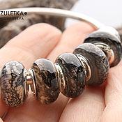 Материалы для творчества handmade. Livemaster - original item Grayscale - set 5 lampwork Branzuletka beads - charms bracelet. Handmade.