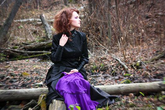 Skirts handmade. Livemaster - handmade. Buy Gothic skirt with a train.Gothic skirt, 100% chiffon silk