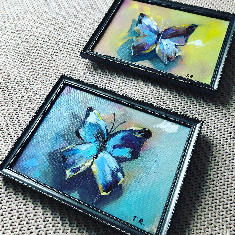 2 картины маслом. Бабочки, Картины, Обнинск, Фото №1