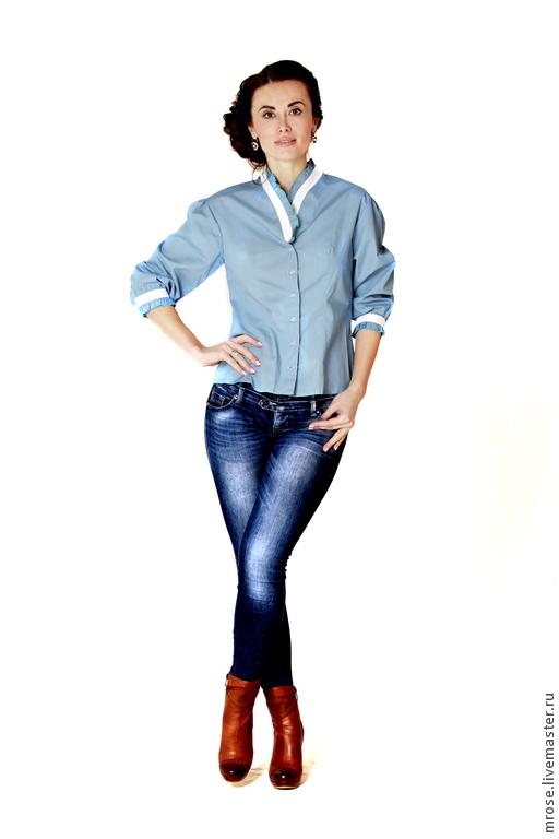 """Блузки ручной работы. Ярмарка Мастеров - ручная работа. Купить Блуза """"Солистка"""" голубая с белым. Handmade. Голубой, блузка женская"""