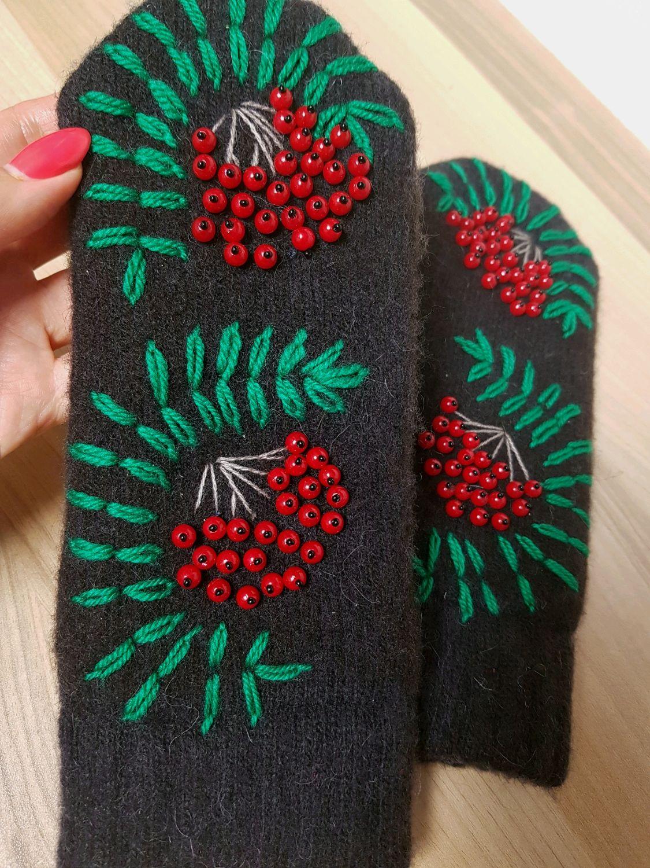 Rowan beads Women's warm woolen mittens with embroidery Rowan, Mittens, Volgograd,  Фото №1