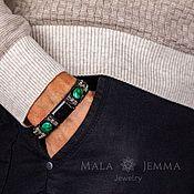 Украшения handmade. Livemaster - original item Aura Hypersthene and a Wide Leather men`s bracelet with malachite stone. Handmade.