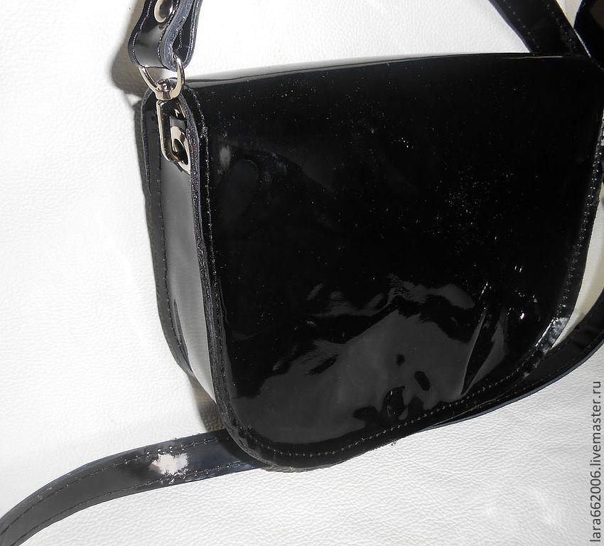 5c300f48a155 ... маленькая Маленькая женская сумочка `Черныш` из натуральной лаковой  черной кожи, кожаная сумка, маленькая Маленькая ...
