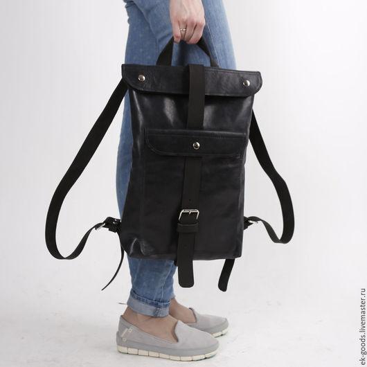 Рюкзаки ручной работы. Ярмарка Мастеров - ручная работа. Купить Банана-рюкзак чёрный. Handmade. Кожа, черный, крс