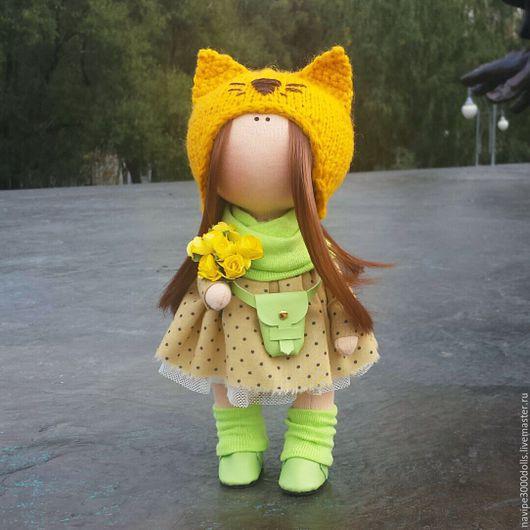 Куклы тыквоголовки ручной работы. Ярмарка Мастеров - ручная работа. Купить Интерьерная кукла. Handmade. Желтый, тильда, текстильная кукла