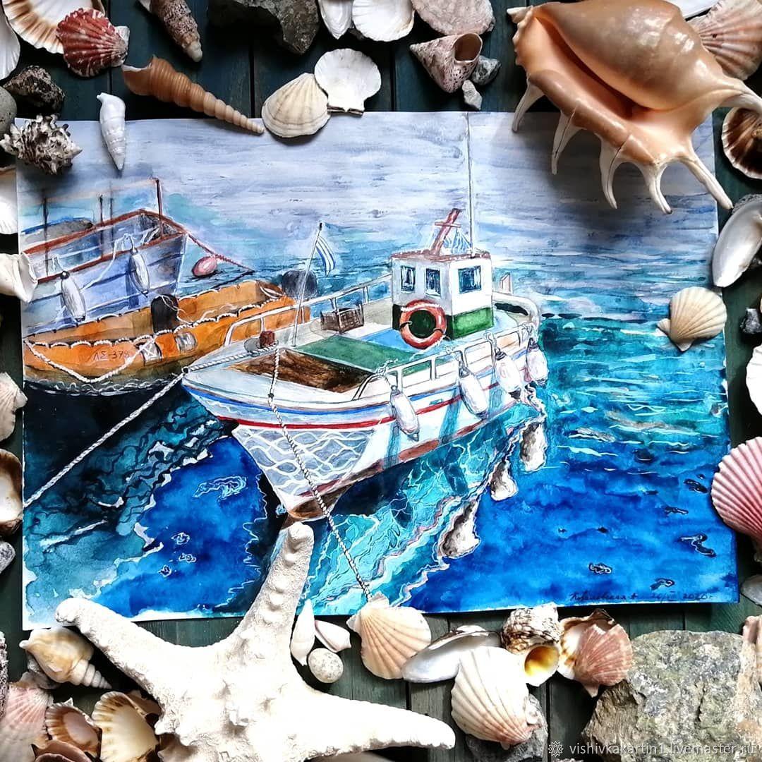 Корабли на пристани, акварель, Картины, Ясный,  Фото №1