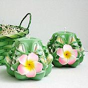 Сувениры и подарки ручной работы. Ярмарка Мастеров - ручная работа Резные свечи - малышки плюмерии - зеленый розовый золотистый цвет. Handmade.
