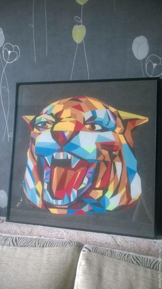 Животные ручной работы. Ярмарка Мастеров - ручная работа. Купить Голова тигра. Handmade. Подарок, картина для интерьера, цветной песок