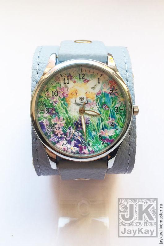 """Часы ручной работы. Ярмарка Мастеров - ручная работа. Купить Часы наручные JK """"Лис"""" в голубом. Handmade. Часы"""