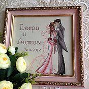 """Свадебный салон ручной работы. Ярмарка Мастеров - ручная работа Свадебная метрика """"Поцелуй"""" ( вышитая метрика, жених и невеста). Handmade."""