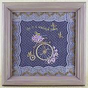 Картины и панно ручной работы. Ярмарка Мастеров - ручная работа Старинный велосипед и мотыльки. Handmade.