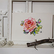 Картины и панно ручной работы. Ярмарка Мастеров - ручная работа Акварельная Роза А4. Handmade.