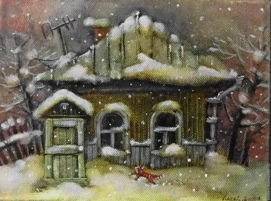 Пейзаж ручной работы. Ярмарка Мастеров - ручная работа. Купить Зимние сумерки. Handmade. Хаки, зимний вечер, холст на подрамнике