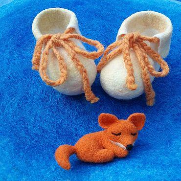 Обувь ручной работы. Ярмарка Мастеров - ручная работа Пинетки: Валяные пинетки для новорожденных Солнечный зайчик. Handmade.