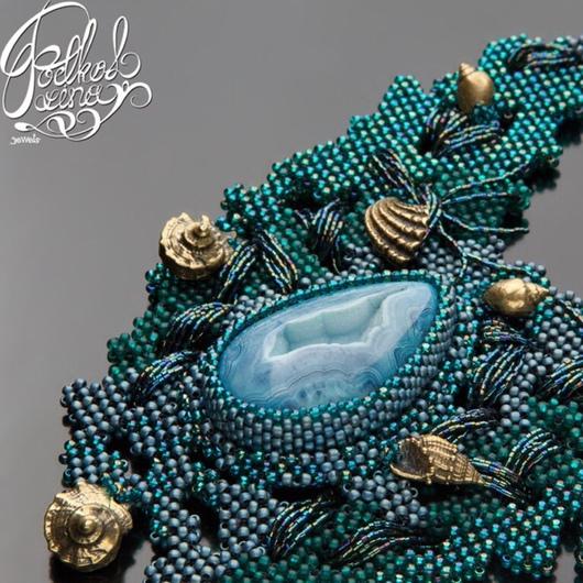 """Колье, бусы ручной работы. Ярмарка Мастеров - ручная работа. Купить Колье """"Тайна океанских глубин"""". Handmade. Морская волна"""