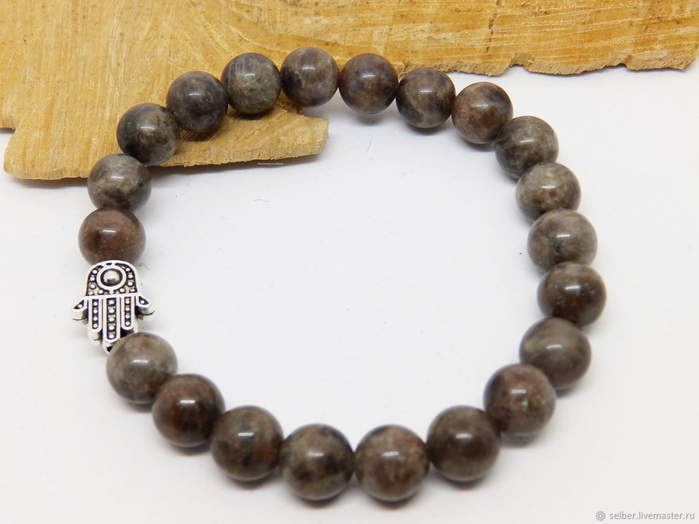 Brown labradorite Hamsa bracelet, Bead bracelet, Gatchina,  Фото №1