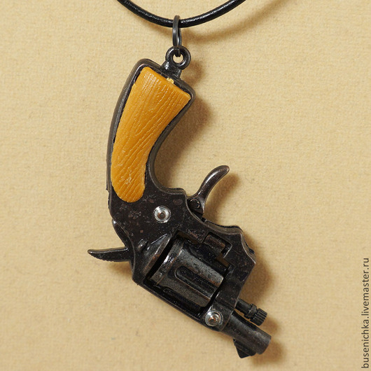 Для украшений ручной работы. Ярмарка Мастеров - ручная работа. Купить Подвеска Револьвер №10 Colt 38 короткоствольный, на кожаном шнурке. Handmade.