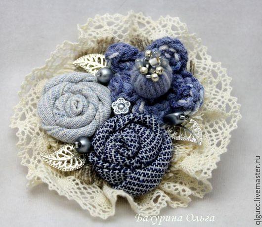 Броши ручной работы. Ярмарка Мастеров - ручная работа. Купить Брошь в стиле бохо(различные цвета). Handmade. Комбинированный, цветы из ткани