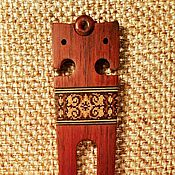 Шпилька Славянская с инкрустацией мозаикой, красное эбеновое дерево
