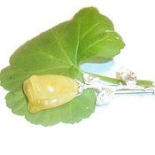 Украшения ручной работы. Ярмарка Мастеров - ручная работа Янтарь брошь Роза натуральный камень мельхиор,белый жёлтый зелёный. Handmade.