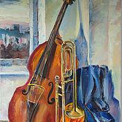 Картины и панно handmade. Livemaster - original item Oil painting. Still life with jazz.. Handmade.