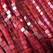 Бусины ручной работы. Ярмарка Мастеров - ручная работа Бусина 3,5 и 4,5 мм Кубик (33), коралл. Handmade.