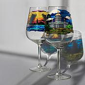 """Посуда ручной работы. Ярмарка Мастеров - ручная работа Бокалы для вина """"В Питере - пить"""". Handmade."""