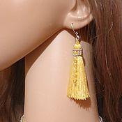 Tassel earrings handmade. Livemaster - original item Earrings brush New year yellow 8 cm.. Handmade.