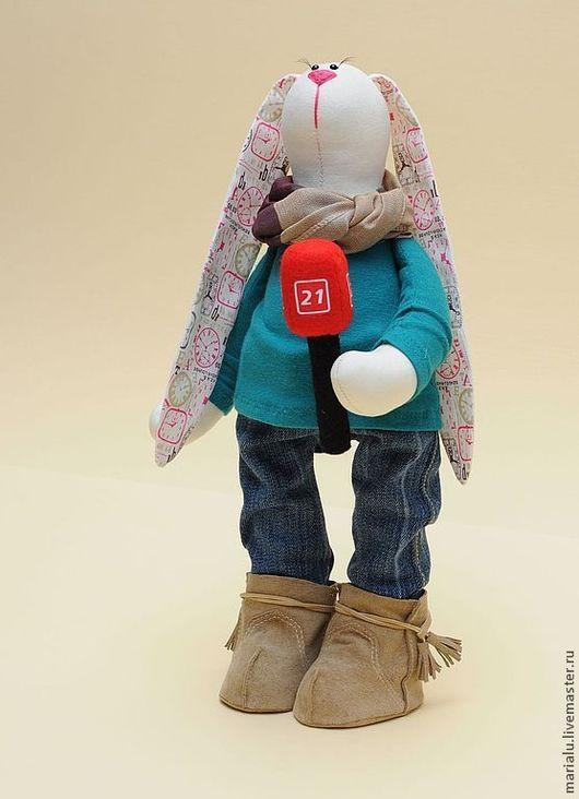 Куклы Тильды ручной работы. Ярмарка Мастеров - ручная работа. Купить Зая журналист.. Handmade. Белый, подарок девушке, профессия