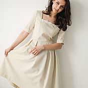 Одежда handmade. Livemaster - original item Romantic ivory woollen dress with lace, pleated skirt and sleeves. Handmade.