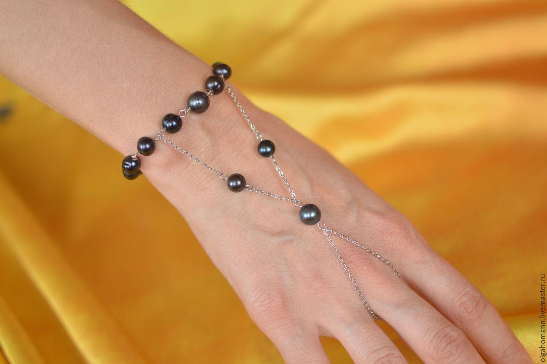Silver slave bracelet of black pearls, 'pearl of the Orient', Slave bracelet, Kiev,  Фото №1