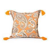 Для дома и интерьера ручной работы. Ярмарка Мастеров - ручная работа Дизайнерская подушка Orangine Tassels. Handmade.