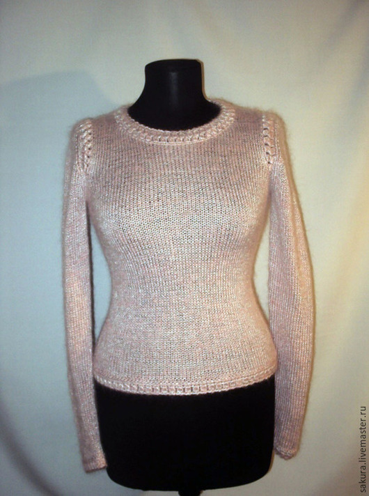 """Кофты и свитера ручной работы. Ярмарка Мастеров - ручная работа. Купить Пуловер """"Розовый жемчуг"""". Handmade. Бледно-розовый"""