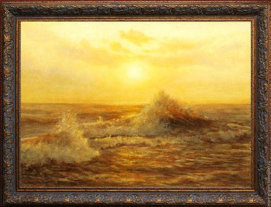 Пейзаж ручной работы. Ярмарка Мастеров - ручная работа. Купить Золотая волна.картина маслом на холсте..морской пейзаж .море... Handmade.