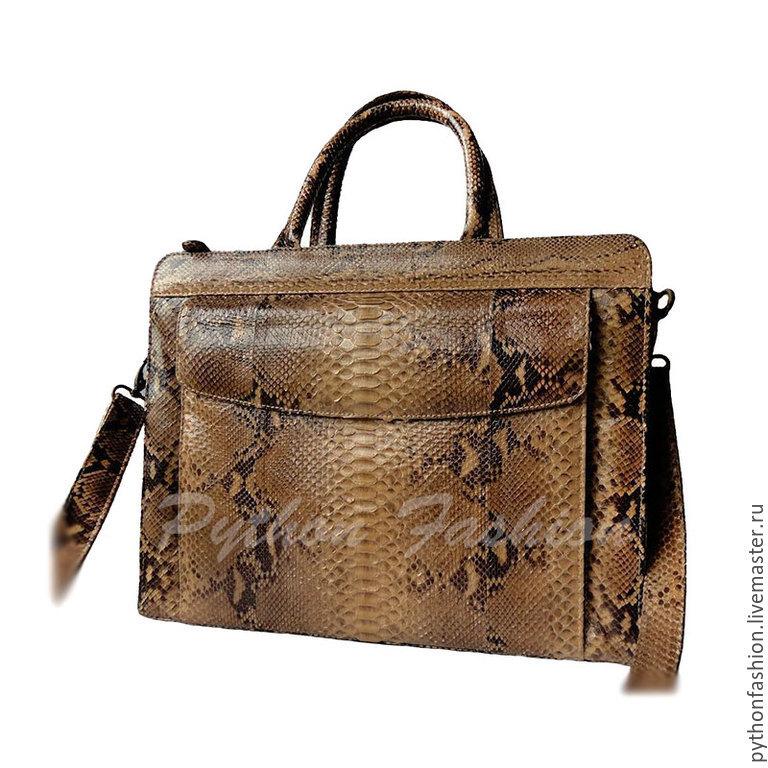 A portfolio of Python. Stylish briefcase made from Python. Trendy leather briefcase from Python. Beautiful bag in Python handmade. Women's portfolio from Python. Classic briefcase from Python.