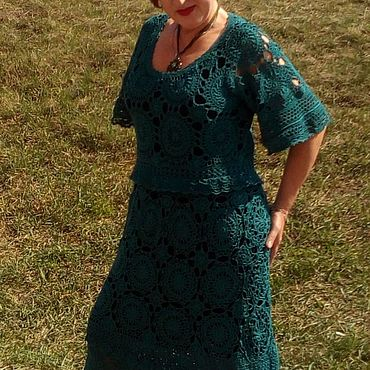 Одежда ручной работы. Ярмарка Мастеров - ручная работа Платья: платье вязаное. платье ажурное. платье крючком. платье нарядно. Handmade.