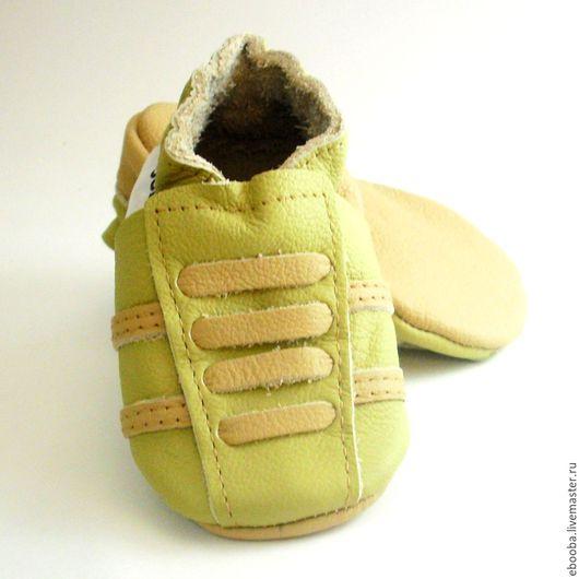 Кожаные чешки тапочки пинетки кроссовки оливковые бежевые ebooba