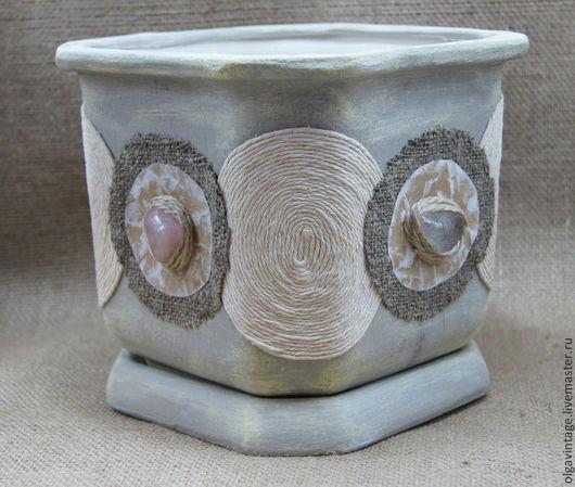 Кашпо ручной работы. Ярмарка Мастеров - ручная работа. Купить Кашпо керамическое, цветочный горшок В стиле ЭКО. Handmade.