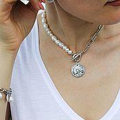Украшения handmade. Livemaster - original item Pearl choker with coin. Handmade.