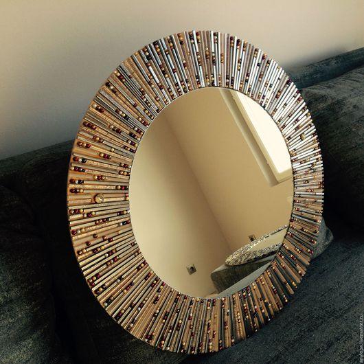 Зеркала ручной работы. Ярмарка Мастеров - ручная работа. Купить Зеркало солнце в мозаичной раме. Handmade. Серебряный, дизайнерское зеркало