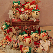 Для дома и интерьера ручной работы. Ярмарка Мастеров - ручная работа Набор елочных украшений ( для Тани). Handmade.