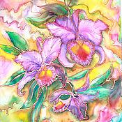 """Картины и панно ручной работы. Ярмарка Мастеров - ручная работа """"Любимые орхидеи"""" - батик панно. Handmade."""